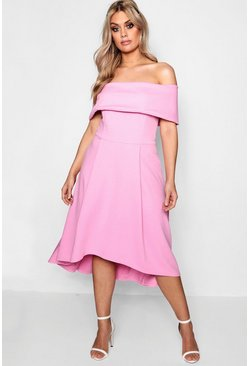 Womens Powder pink Plus Double Layer Midi Dress