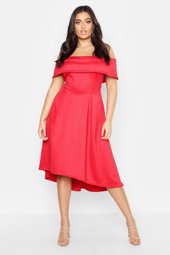 Womens Red Plus Double Layer Midi Dress