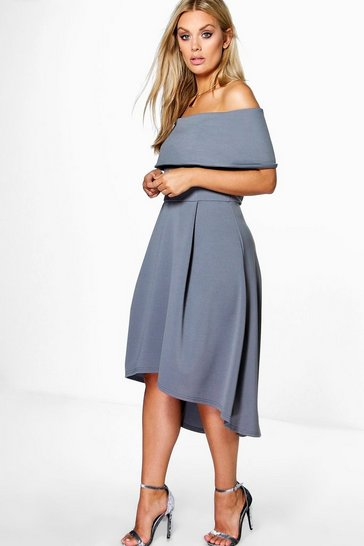 Womens Smoke Plus Double Layer Midi Dress