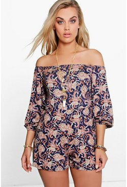 Womens Multi Plus Paisley Print Off The Shoulder Romper
