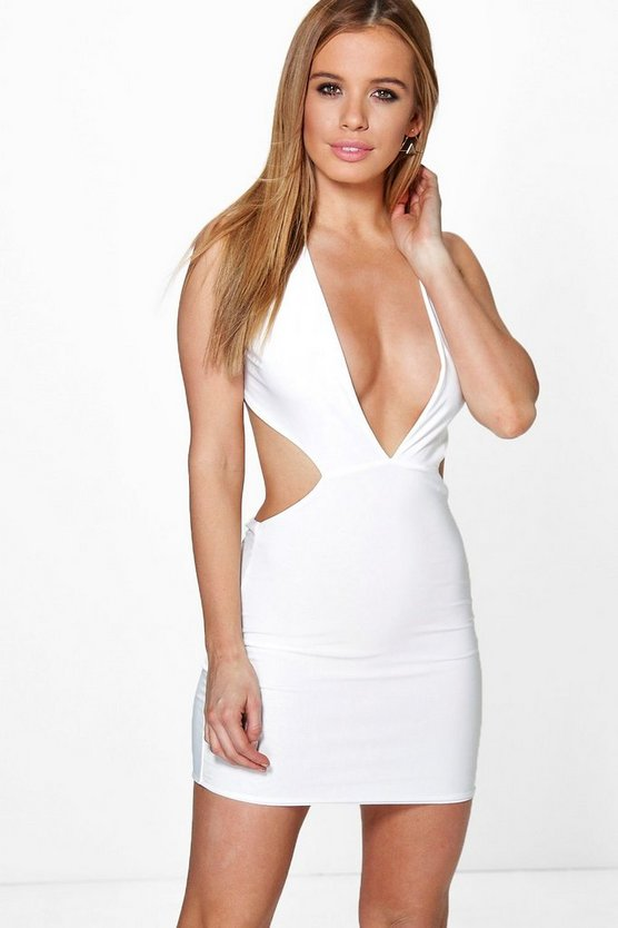 Petite Erin Plunge Cross Back Strap Bodycon Dress