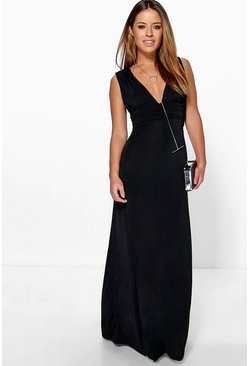 Womens Black Petite Plunge Ruched Maxi Dress