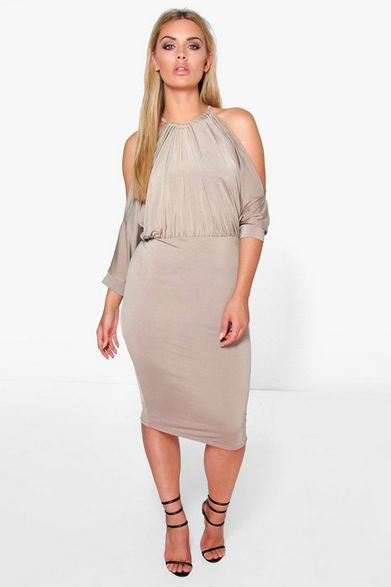 Womens Mocha Plus Cindy Cut Out Shoulder Slinky Bodycon Dress