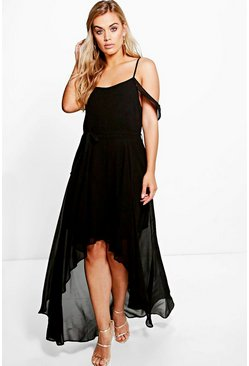 Black Plus  Chiffon Frill Open Shoulder Dress