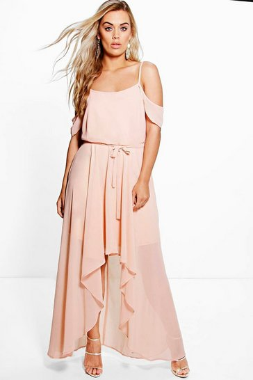 Womens Blush Plus  Chiffon Frill Open Shoulder Dress