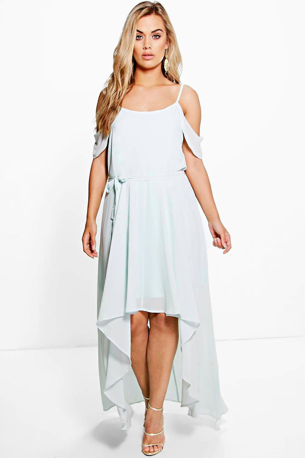 Shoulder Frill Plus Chiffon Open DressBoohoo We9EH2IYbD
