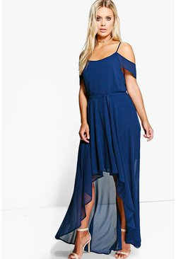 Dam Navy Plus  Chiffon Frill Open Shoulder Dress