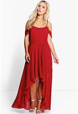 Wine Plus  Chiffon Frill Open Shoulder Dress