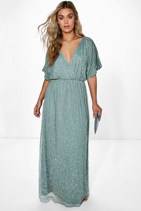 Pale blue Plus Rose All Over Sequin Maxi Dress
