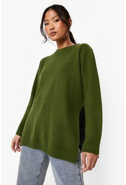 Khaki Petite  Side Split Tunic Jumper