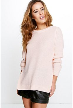 Womens Nude Petite Side Split Tunic Jumper