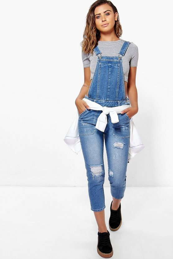 Womens Petite Mid Blue Distressed 3/4 Overall