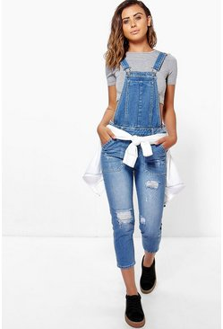 Womens Petite Mid Blue Distressed 3/4 Dungaree