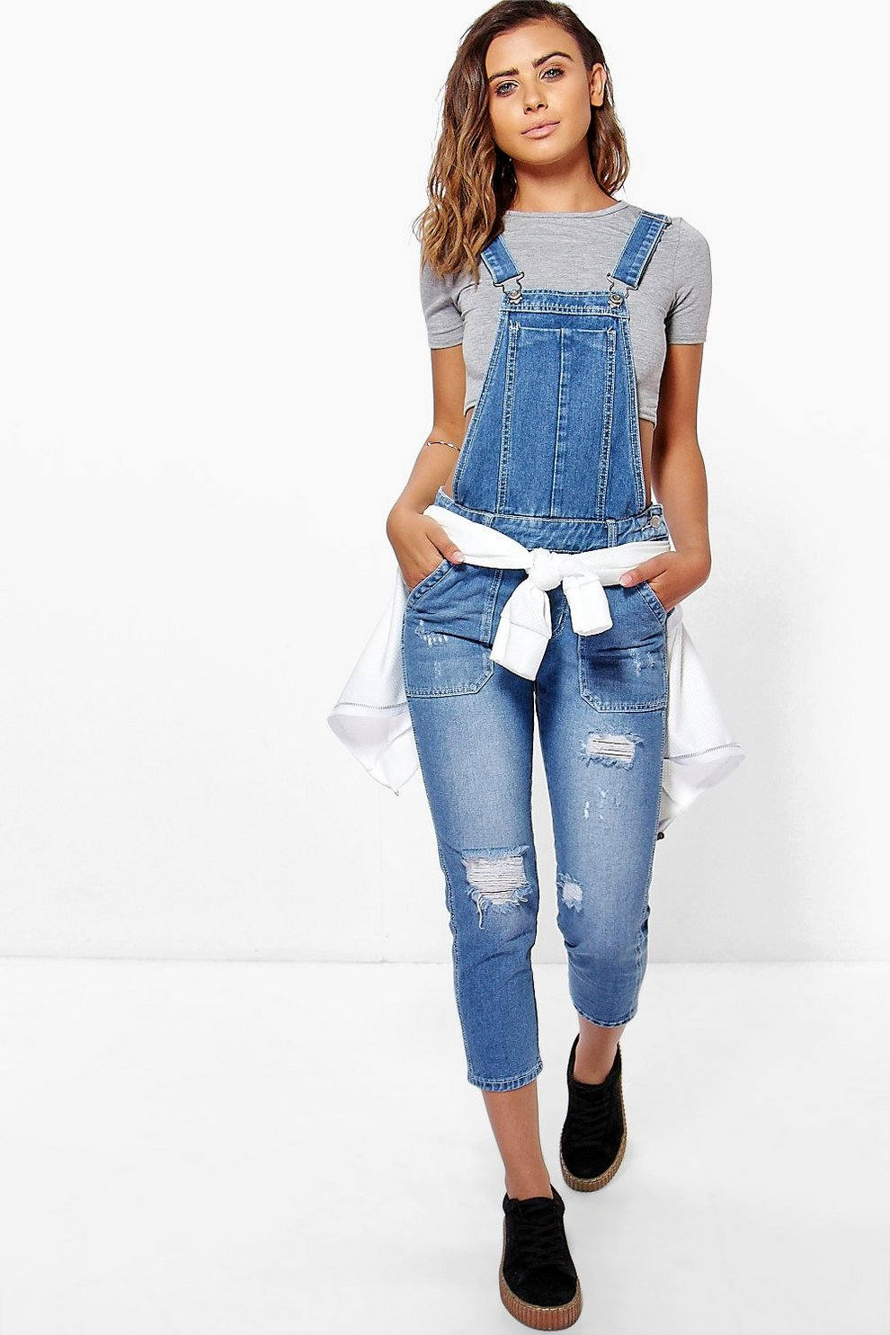 c2234489de2b Womens Mid blue Petite Mid Blue Distressed 3/4 Overall