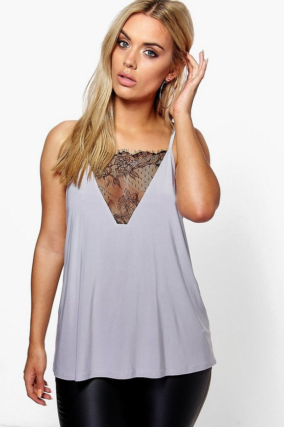 Plus Lace Detail Cami Top