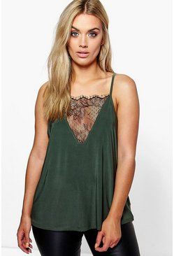Womens Khaki Plus Lace Detail Cami Top