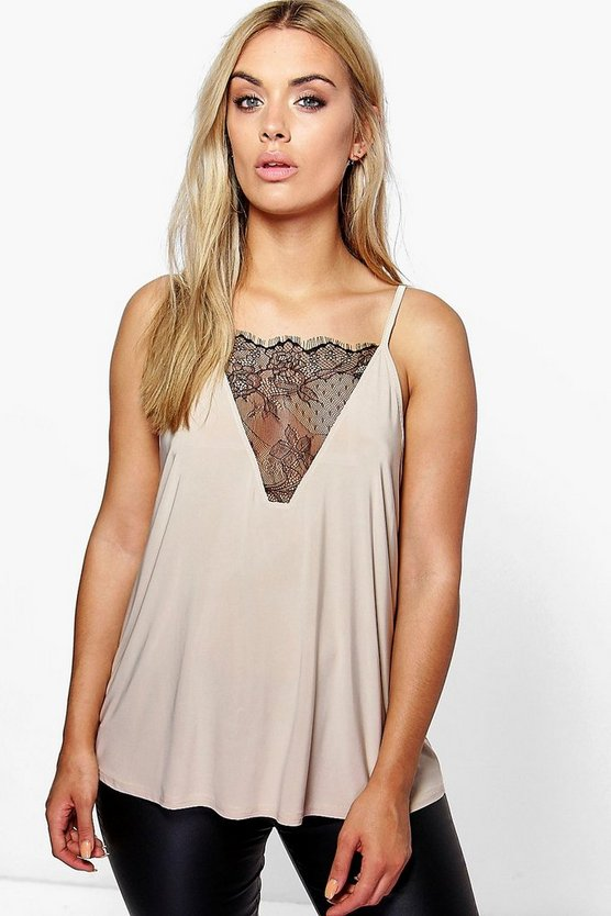 Stone Plus Lace Detail Cami Top