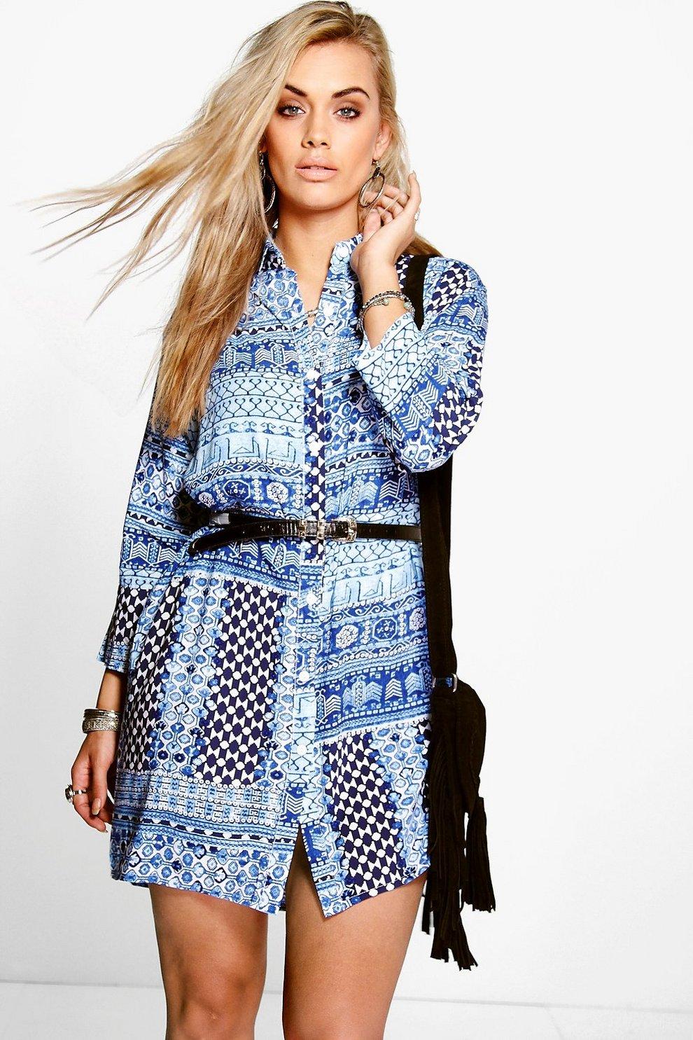 a77f5ee875163b Plus Laura robe chemise imprimé mosaïque   Boohoo