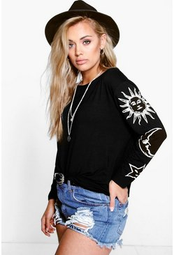Black Plus Sun + Moon Oversized T-Shirt