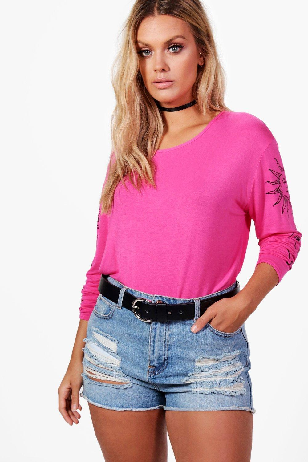 Oversized Plus cerise Sun T Moon Shirt Yvwwf4Zq