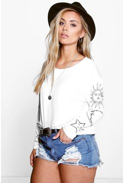 Womens Cream Plus Sun + Moon Oversized T-Shirt