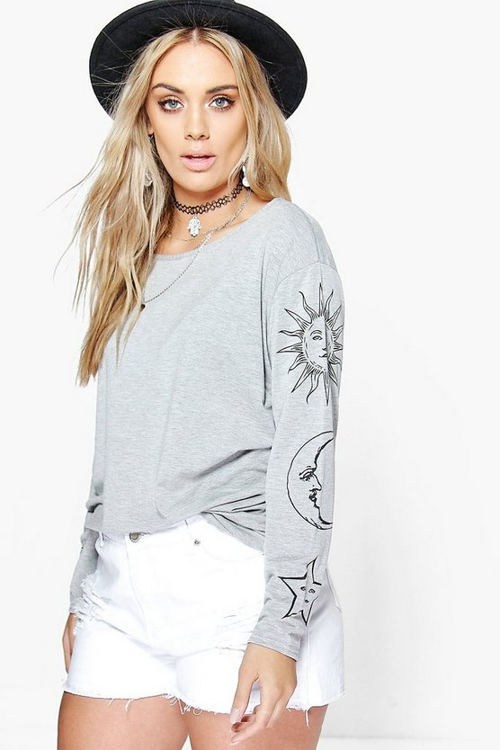 Womens Grey Plus Sun + Moon Oversized T-Shirt