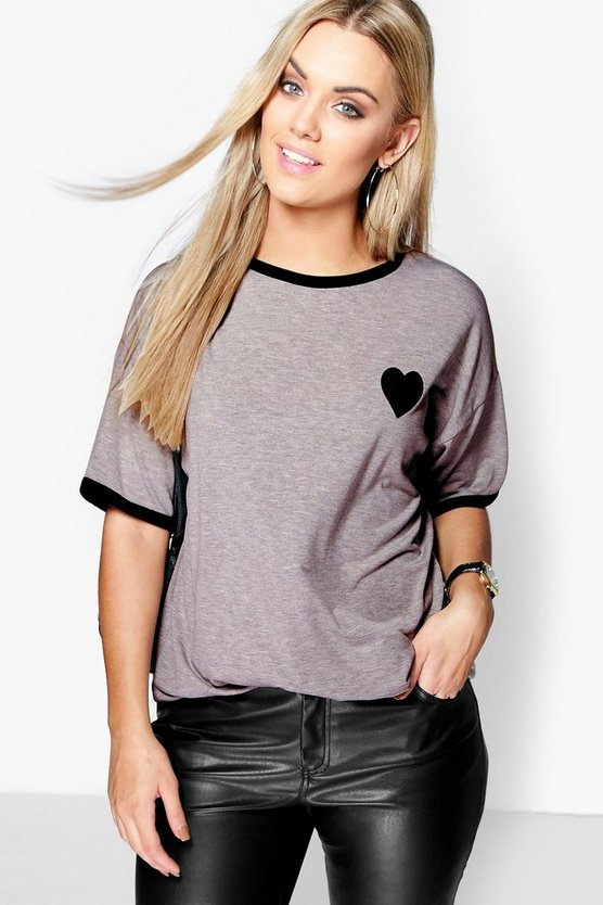 Womens Grey Plus  Tipped T-Shirt With Heart