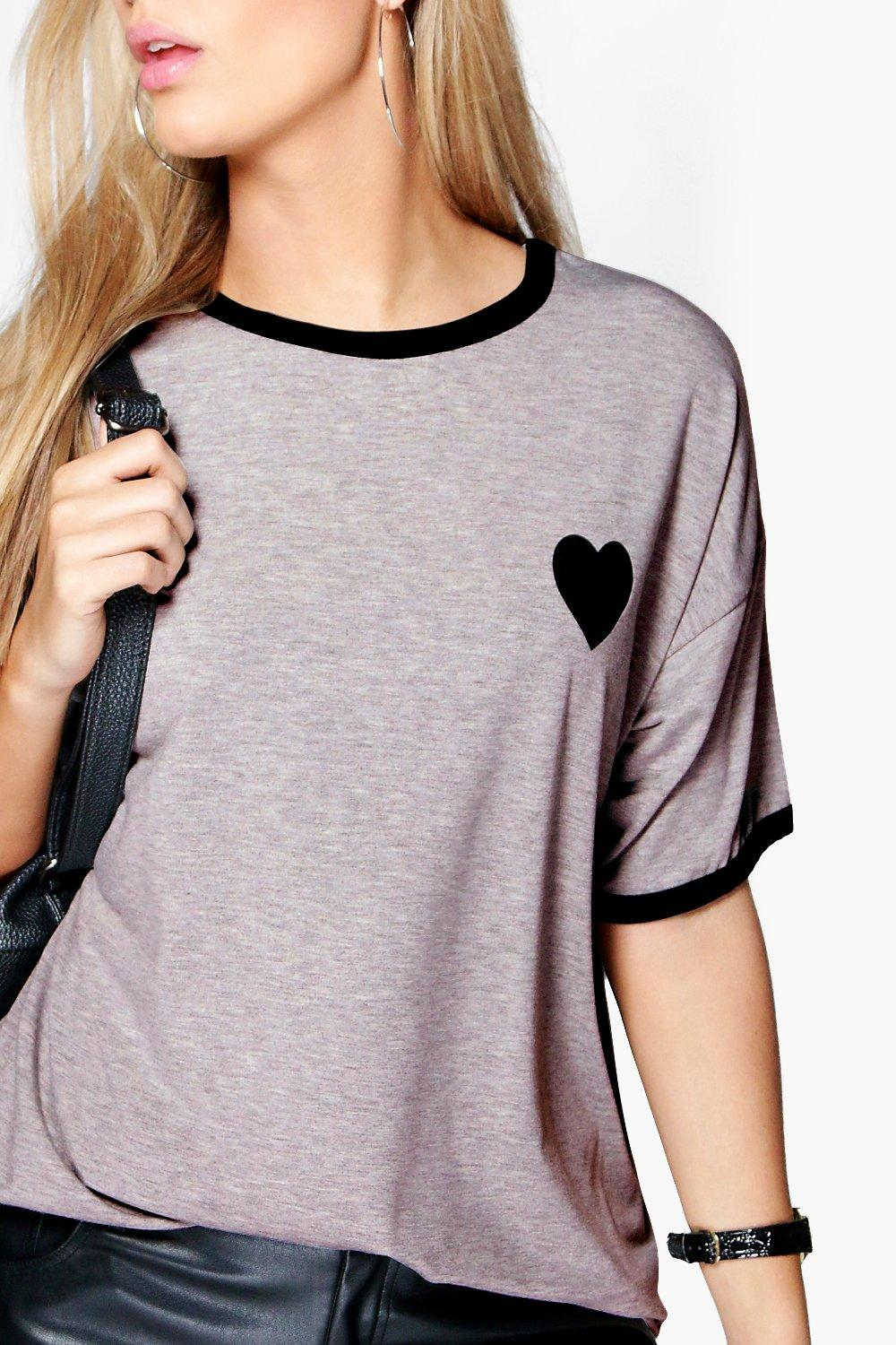 grey With Plus Shirt Tipped Heart T txwanXq0C