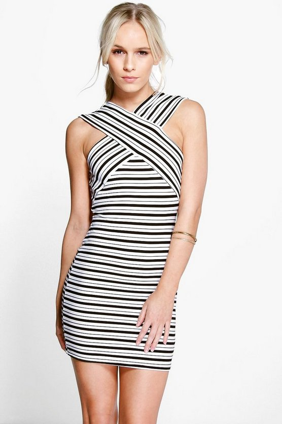 Petite Erin Cross Front Contrast Stripe Dress
