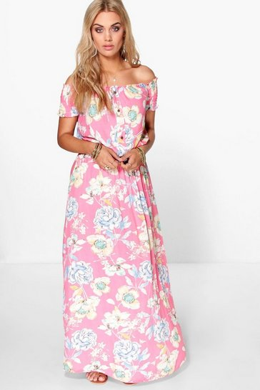 Womens Pink Plus Floral Off The Shoulder Maxi Dress