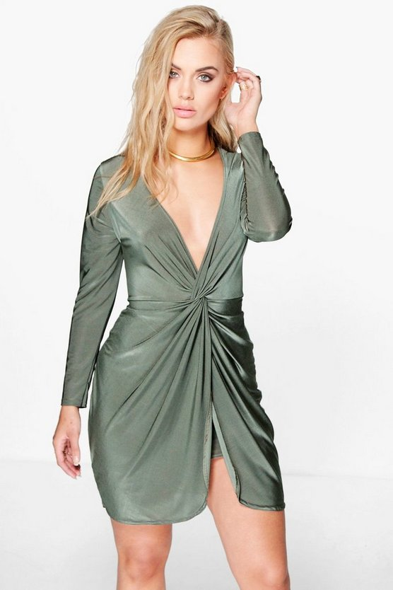 Womens Olive Plus Sarah Knot Front Midi Dress