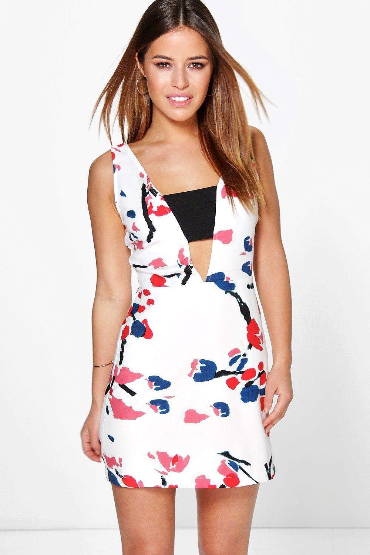07499399c4f8 Petite Kate Floral Crepe Low V Neck Dress