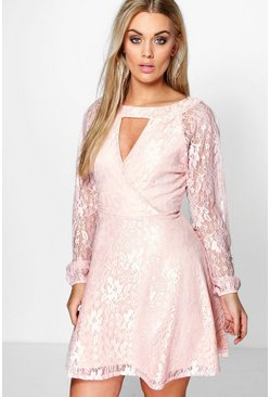Womens Blush Plus Lace Skater Dress