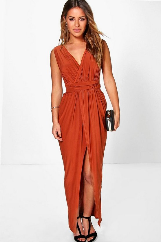 Womens Copper Petite Plunge Drape Maxi Dress
