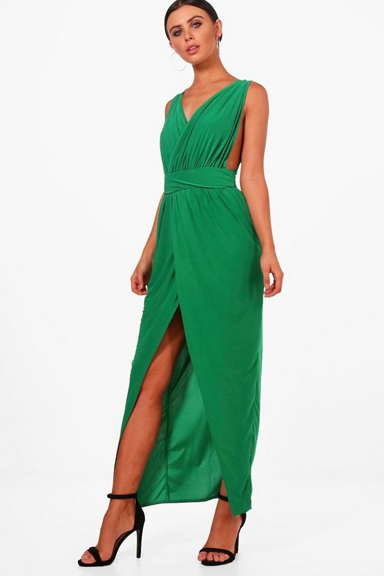 Emerald Petite  Plunge Drape Maxi Dress