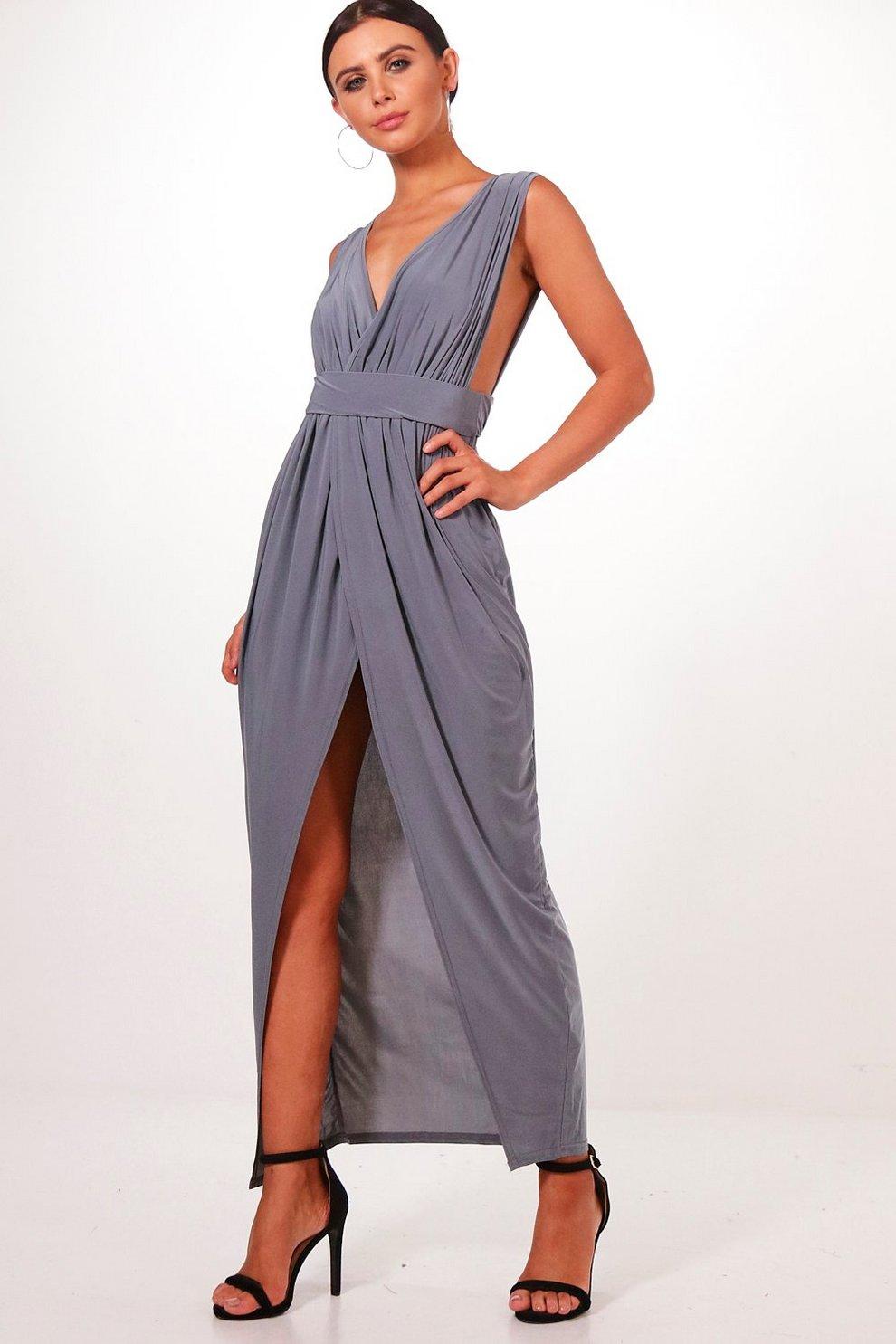 d860e80ce56 Womens Smoke Petite Plunge Drape Maxi Dress
