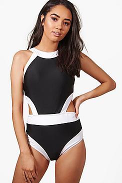 60s Swimsuits, 70s Bathing Suits | Retro Swimwear Petite Colour Block Cut Out Detail Swimsuit $40.00 AT vintagedancer.com