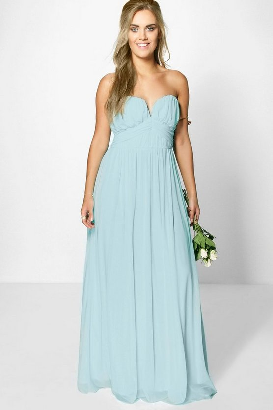 Plus Helen Mesh Plunge Bandeau Maxi Dress