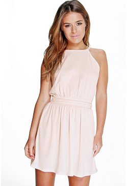 Womens Nude Petite Plait Detail Halter Neck Skater Dress
