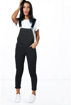 Womens Black Petite  Denim Dungarees