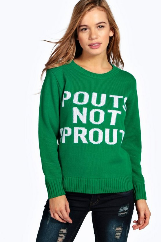 Petite Grace Pouts Not Sprouts Christmas Jumper Boohoo