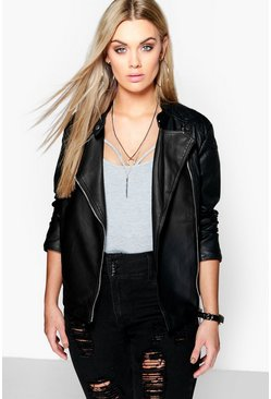 Womens Black Plus  Quilted Faux Leather Biker Jacket
