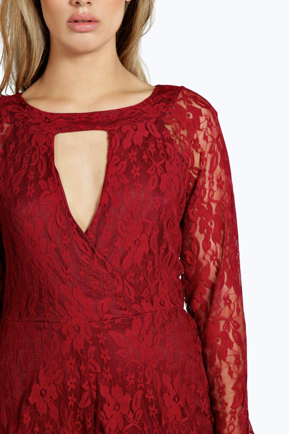 Playsuit Front Lace wine Plus Wrap tUqF1wZT
