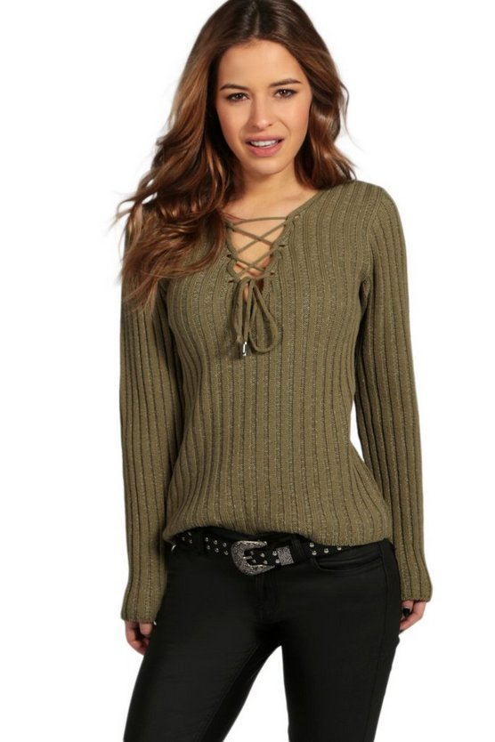 Petite Lace Up Rib Knit Jumper