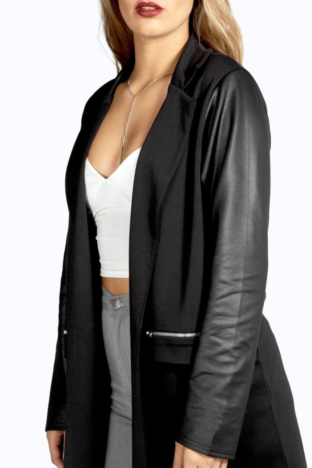 Sleeve Jacket PU Duster black Plus Jersey 5xfw6nHP