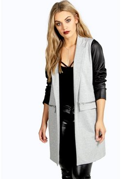 Womens Grey Plus  PU Sleeve Jersey Duster Jacket