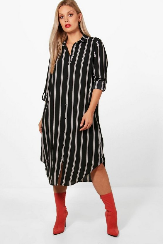 Womens Multi Plus Striped Shirt Dress