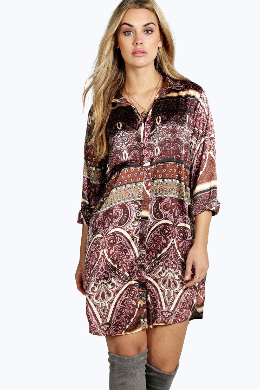 fc22402cb075 Womens Multi Plus Megan Paisley Shirt Dress. Hover to zoom
