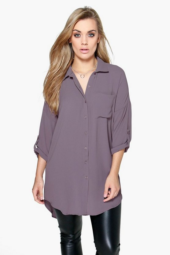 Womens Grey Plus  Oversized Shirt