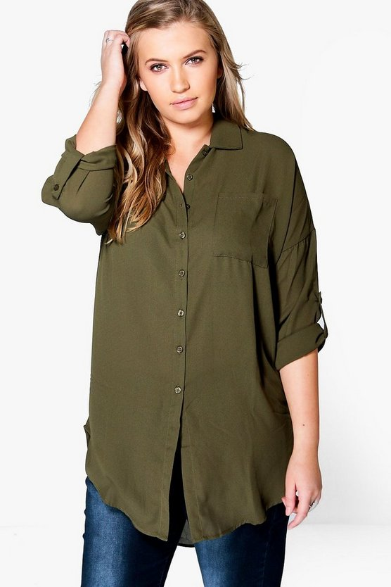 Womens Khaki Plus  Oversized Shirt